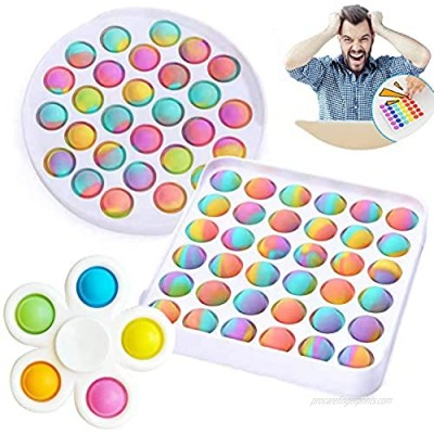 QWE Push pop Bubble Sensory Fidget Toy  Hand Spinner Toys Rainbow Silicone Squeeze EDC Toy Stress Reliever and Anti-Anxiety Sensory Toy for Autism Special/Kids/Adults/Friends/Office (B)