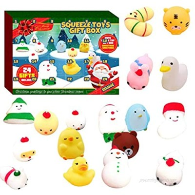 Merry Christmas Advent Calendar  Creative 2020 Christmas Countdown Calendar Toy with 24Pcs Different Colourful Cute Mochi Animals Toys  Relief Stress Squeeze Toy for Boys Girls Christmas Party Favor