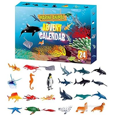 WBTY Animal Toy Advent Calendar 2020 Unique Style 24PCS Mini Builds Set Marine Animal Toy Christmas Countdown Surprise Interesting Models Gift For Childrens