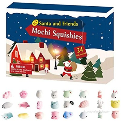 wongbey Christmas Countdown Calendar Toy Set  24Pcs Christmas Toys Mini Cute Animal Squeeze Funny Soft Stress Relief Toy  Christmas Advent Calendar