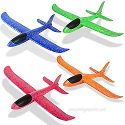 """Foam Airplanes for Kids Toddler 3 Flight Mode 13.5"""" Foam Glider Stunt Airplane Toy for 3+ Year Old Model Airplanes Kits Aircraft Hand Throwing Planes Flying Aeroplane Birthday Party Favor Gift 4pcs"""