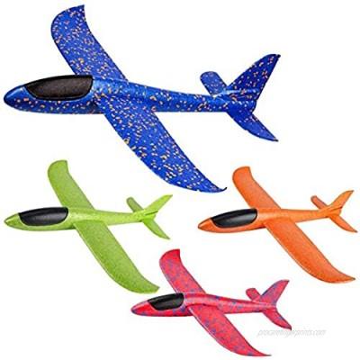 JUNBESTN Airplane Throwing Foam Plane Glider Airplane  Gifts for Kids Boy  Outdoor Sport (4 Pack 15'')