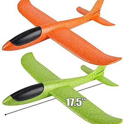 """Zwish 2 Pack 17.5"""" Airplane Toys  Boy Toys  2 Flight Mode Foam Glider Plane for Kids  Family Yard Game Flying Toys  Birthday Gifts for 3 4 5 6 7 8 9 10 Year Old Boys Girls Kids Toddlers Party Favor"""