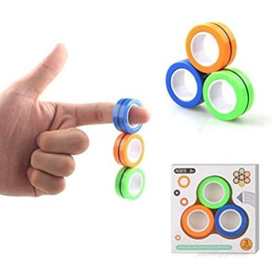 Linshow Finger Magnetic Ring  Magnet Toy  Magnetic Fingertip Toys  Decompression Magnetic Magic Ring  Magnetic Game  Magic Toy  Magnetic Bracelet  Durable Unzip Toys (3Pcs)