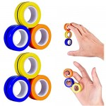 Magnetic Rings Toys 6Pcs for Kids and Adults Stress Relief Magnetic Ring Magnetic Magic Rings Unzip Magnetic Bracelets Props Magic Game Props Decompression Rotating Toys for Anxiety Adult and Children
