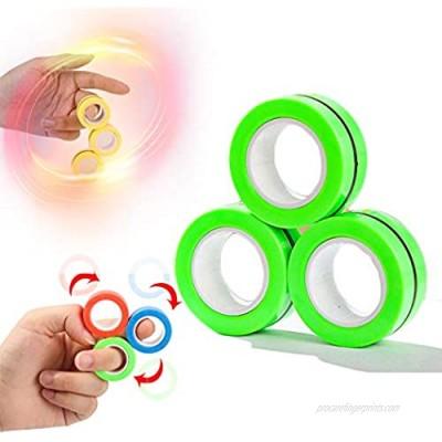 wellin international 3 pcs Green Magnetic Ring Spinner Finger Trendy Toy Fidget Spinning Anti-Stress Unzip Toy (Green)