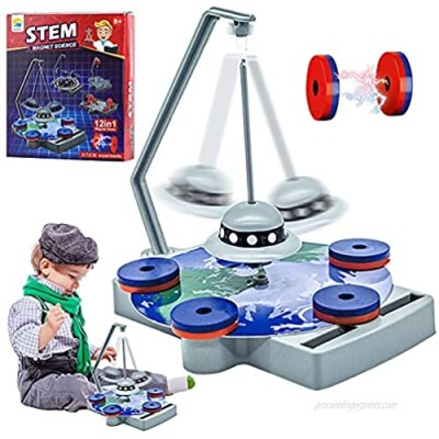 YUNKAIEN 12-in-1magnet Science kit Toys|12 STEM Magnetic Science Experiments|Power The Racer with a Magnet Levitate a Magnet Magnetic Yacht & Fishing Compass Magnets
