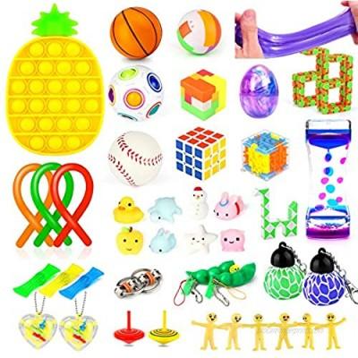 43 Pcs Fidget Toys Set Push Pop Bubble Sensory Fidget Toys Bundle Stress Relief and Anti-Anxiety Hand Toys for Kids/Adults