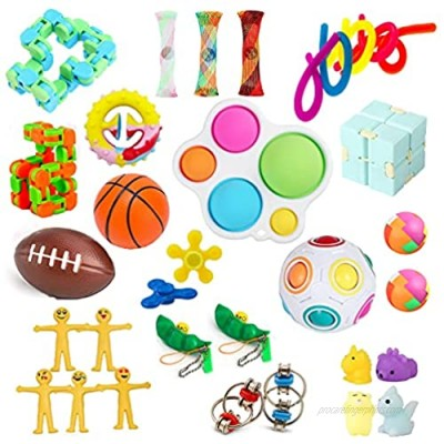 LRIGYEH Sensory Fidget Toys Set  32 Pcs Stress Relief and Anti-Anxiety Toys for Adults Kids ADHD ADD Anxiety Autism with Stress Balls  Squishy  Stretchy String  Puzzle Balls for Birthday (Style-A)