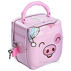 Mini Piggy Bank  Kids Iron Box Coin Bank Makes a Perfect Unique Gift  Nursery Décor  Keepsake or Savings Money Bank for Boys and Girls 3-12 Years - Pink