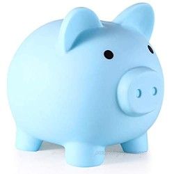 Oislove2 Piggy Bank  My First Money Bank  Unbreakable Plastic Coin Bank for Girls and Boys  Medium Size Piggy Banks  Practical Gifts for Birthday  Easter  Baby Shower (Blue)