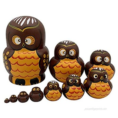 Cute Vivid Big Belly Shape Brown Owl Handmade Wooden Russian Nesting Dolls Matryoshka Dolls Set 10 Pieces for Kids Toy Home Decoration Birthday Gift Idea for Daughter