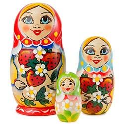 MUARO Russian Nesting Doll Set - 3-Piece Russian Stacking Matryoshka Dolls - Handmade Wooden Dolls - Babushka Toy Dolls for Kids - Original Nested Dolls for Christmas  Halloween Home Décor 4.5 inch
