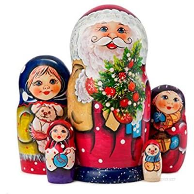 MUARO Russian Nesting Dolls Matryoshka Wood Stacking Nested Set 5 Pieces Handmade Wooden Doll Santa Claus