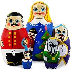 Nutcracker Christmas Toy Gifts Russian Nesting Dolls for Kids - Wooden Nutcracker Matryoshka Set 5 Pieces Hand Made in Russia - Munecas Rusas De Madera