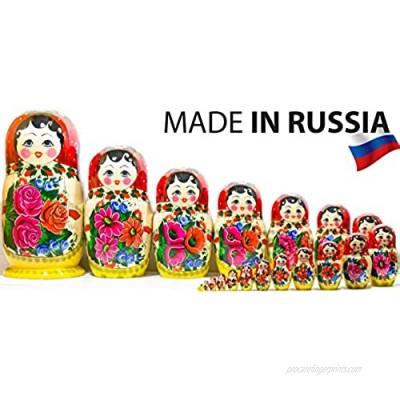 Russian Nesting Doll - Semenovo - Hand Painted in Russia - Traditional Matryoshka Babushka (14``(20 Dolls in 1) Red-Yellow)