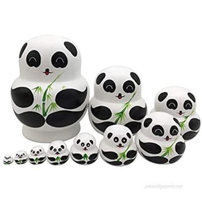 Set of 10 Cute Giant Panda Bear with Green Bamboo Handmade Wooden Russian Nesting Dolls Animals Matryoshka Dolls for Kids Holiday Birthday Gift Home Decoration