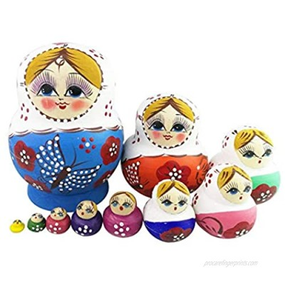Winterworm Set of 10 Cute Lovely Colorful Butterfly Blue Wooden Nesting Dolls Matryoshka Russian Doll Popular Handmade Kids Girl Gifts Toy