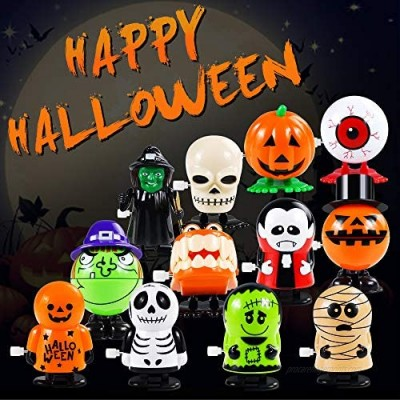 12 Pack Wind Up Toys for Kids  Assorted Novelty Jumping and Walking Clockwork Toys for Party  Favors Gift Goody Bag Filler Stocking Stuffers and Fun Decoration (Halloween Wind Up Toys)