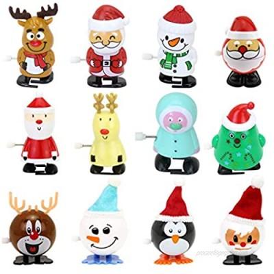 Gxhong Christmas Wind-up Toys 12 Pcs Penguin Santa Reindeer Elk Plastic Mini Novelty Jumping Toys  Kids Assorted Clockwork Toys Assortment for Christmas Party Favors Goody Bag Filler