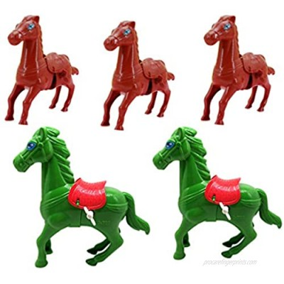 NUOBESTY 5pcs Horse Wind Up Toy Kids Mini Pegasus Racing Toys Cute Party Favors Birthday Halloween Party FavorsGoodie Fillers Kids Prizes