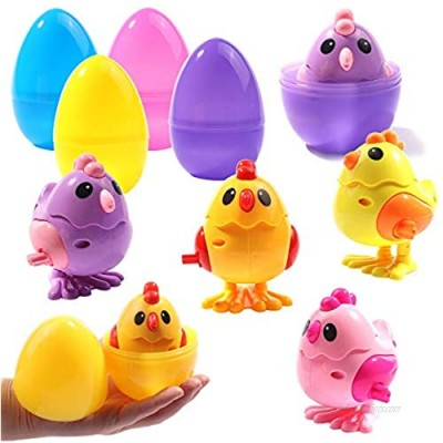 ONEETIS Large Surprise Eggs Filled 4Pack Easter Eggs with Plastic Wind Up Animals and Novelty Jumping Chics Inside Colorful Pre Plastic Easter Eggs for Kids Easter Basket Gifts Easter Basket Stuffers