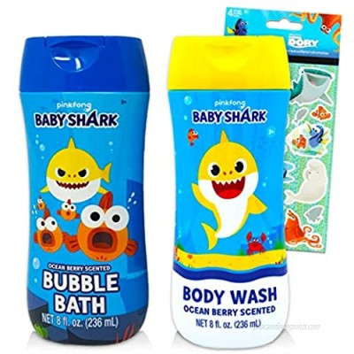Baby Shark Bath Set for Kids Bundle ~ Baby Shark Body Wash and Bubble Bath with Finding Dory Stickers! (Baby Shark Bathroom Set)