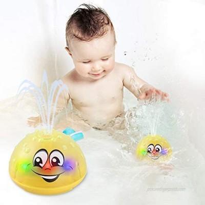 Bath Toys  Water Spray Toys for Kids Baby Bath Toys for Toddlers LED Light Up Bathtub Toys for Toddlers Sprinkler Bath Toy Baby Shines Bath Toy (A-Yellow)