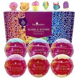 Bubble Bath Bombs for Kids with Surprise Toys Inside for Boys and Girls by Two Sisters. 6 Large 99% Natural Fizzies in Gift Box. Releases Color  Scent  and Bubbles (Fun Food)