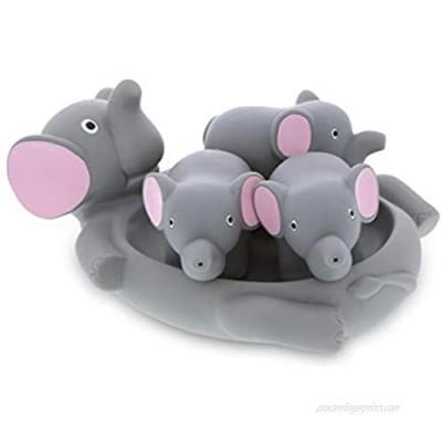 DolliBu Elephant Family Animal Bath Squirters 4 Piece Bath Toy Set  Children Bath Toys for Bathtime & Water Fun  Girls & Boys Floating Rubber Squirt Toys  Pool Toys for Kids - Gray Elephant
