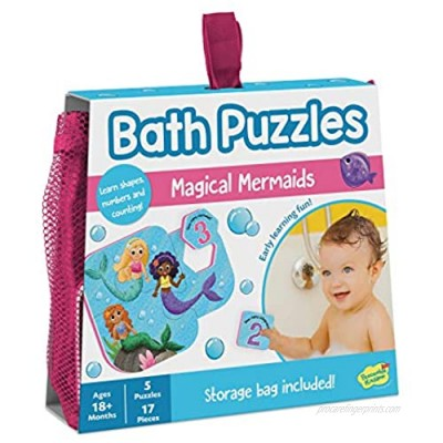 Peaceable Kingdom Magical Mermaids Bath Puzzles - Bath Toys for Toddlers – Foam Bath Puzzles for Kids - Fine Motor Skills (17 Pieces  5 Puzzles)