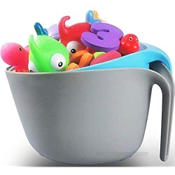 RAINBOW TOYFROG Bath Toy Storage Bin  freestanding Bath Toy Organizer Basket with Drying Scoop and Base  Great Bath Toy Holder for Toddler and Babies-Gray+Blue