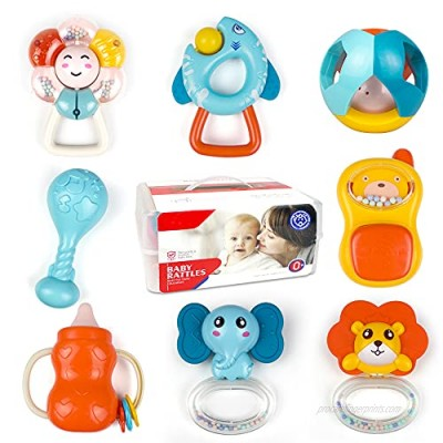 8pcs Baby Rattles Toys  Infant Teether  Shaker  Grab and Spin Rattle Musical Toy Set Newborn Early Educational Sensory Baby Toys Gifts for 0  3  6  9  12 Months  Girls  Boys with Storage Box
