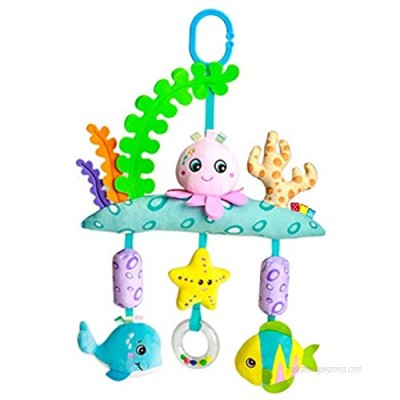Wallfire Baby Hanging Rattle Toy  Newborn Crib Bell Toy with Plush Animal C-Clip Ring Spiral Stroller Car Seat Sensory Rattles Toy