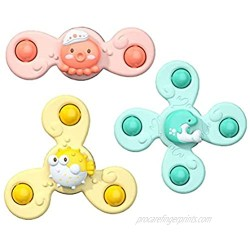 QADN Suction Cup Spinning Tops Toy  3PCS Flower Sucker Rotating Suction Cups Toys Cartoon Bath Toys Sensory Toys for Toddler Baby