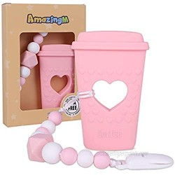 AmazingM Baby Coffee Cup Teething Toys Food Grade Silicone Teether Toy with Pacifier Clip Holder BPA Free Freezer Safe Teething Egg for Boy and Girl (Pink)