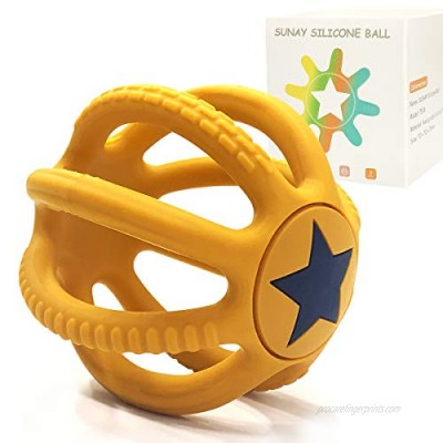 Baby Teether - Baby Teething Toys for Babies 3-6 Months & 6-12 Months - Exercise Grasping & 3D Cognition  Massage Gums & Soothe Teething (Yellow)