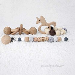 Wooden Baby Teething Toy Rattle Montessori Inspired Rattle for Babies Perfect Grasping for Toddlers Baby Teething Bracelet Crochet Beads Bracelet and Pacifier Clips Chewable Montessori Toy Shower Gift