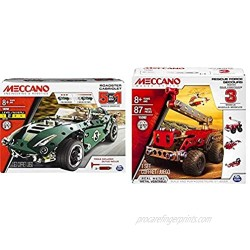 Meccano 6040176 5 in 1 Model Set-Roadster Cabriolet Multi Colour & 3 Model Set - Rescue (Styles Vary)