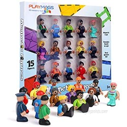 Playmags Magnetic Figures-Community Figures Set of 15 Pieces - Play People Perfect for Magnetic Tiles - STEM Learning Toys Children - Magnetic Tiles Expansion Pack- Compatible w Other Brands