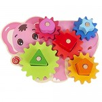 NUOBESTY 1 Set Kid Matching Toy Wooden Gear Game Toy Educational Building Blocks Kit Initiation Toy