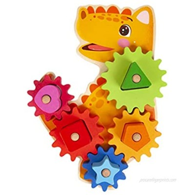 TOYANDONA 1 Set Dinosaurs Building Block Gear Sets Animal Pattern Puzzle Block Wooden Interlocking STEM Educational Building Construction Toy for Kid Fine Motor Skills Development