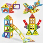TGRBOP 152PCS Magnetic Building Block Stacking kits Toys 3D Shape Creativity Educational with Castle car ferris wheel robot Magnet Tiles Construction Toys for Boys Girls